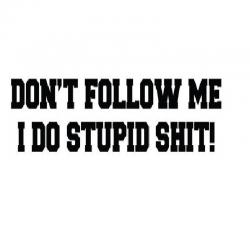 Don't Follow Me I Do Stupid...